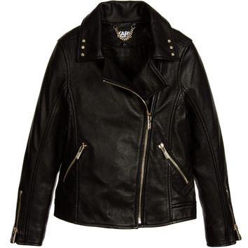 Karl Lagerfeld Girls Leather Biker Jacket