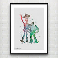 Toy Story, Buzz Lightyear and Woody, Disney, Watercolor Print, Baby Nursery Room Art, Home Decor, Not Framed, Buy 2 Get 1 Free! [No. 120]
