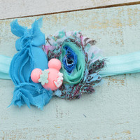 Minnie Mouse inspired Shabby Chic Headband/Blue Headband/ 1 of a kind