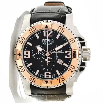 Invicta 10899 Men's Reserve Excursion Black Textured Dial Rose Gold Tone Bezel Chronograph Leather Strap Dive Watch