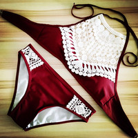 Sexy Halter Crochet Bikini High Neck Red Bathing Suit Swimsuit Women Swimwear Biquini Maillot de Bain