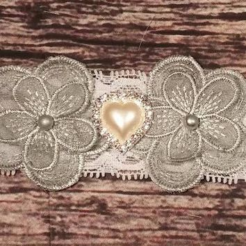 Silver Lace and Pearl Flowers with Rhinestone and Pearl Heart Lace Baby Girl Headband!