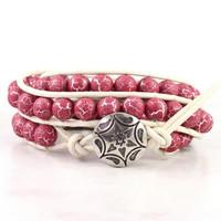 Leather Wrap Bracelet White Raspberry Pink Triple Wrap Silver Bohemian Fashion Dark PInk Fuchsia