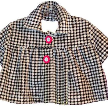 Black and White Houndstooth Fleece Baby Swing Jacket