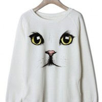 Cute Cat Face White Sweater - New Arrivals - Retro, Indie and Unique Fashion