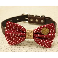 Red Dog Bow Tie attached to collar, Burlap wedding, Cat bow