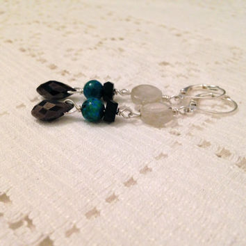 Teal and Black dangle earrings on Silver