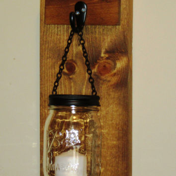 Rustic Mason Jar Wall Sconce,  Mason Jar Candle Holder, Wall Sconce