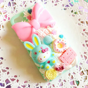 Kawaii Big Bunny Kitty Decoden Sweets Phone case for Iphone 4/4s, Iphone 5, Samsung Galaxy S2 S3 S4