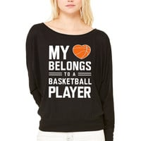 My heart belongs to a basketball player WOMEN'S FLOWY LONG SLEEVE OFF SHOULDER TEE