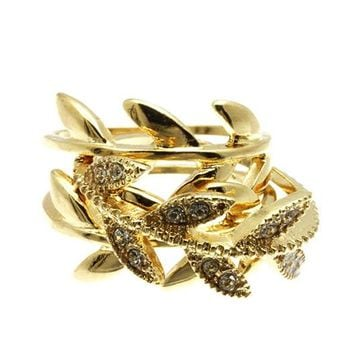 Gold 3 Piece Metal Wreath Textured Ring