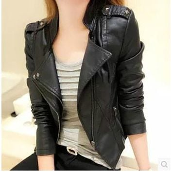 spring women fashion rivet epaulet Pu leather jacket women casual leather jacket free shipping