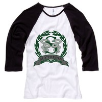 Slytherin Crest Womens Baseball Shirt - White Body-Black Sleeves