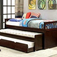 Gartel collection dark walnut finish wood frame day bed with double pull out trundle