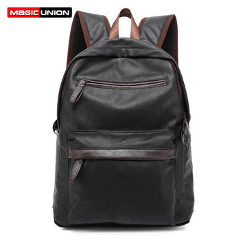MAGIC UNION Oil Wax Leather Backpack Casual Bags & Travel Backpacks For Men Western College Style Leather School Backpack