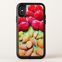 Luscious Red Raspberries and Almonds Watercolor OtterBox Symmetry iPhone X Case
