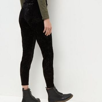 Black Crushed Velvet Leggings