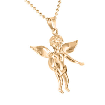 Simulated Diamond Rose Gold Finish Angel Moon Chain Pendant Set