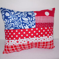 USA Flag Pillow Cotton Patriotic American Handmade Red White Blue Patch Vintage