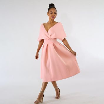 Women Backless Midi Dress Sexy V-Neck Cloak Sleeve Twist Plain Swing Dress Summer Fashion Pink Tunic Elegant Party A-line Dress