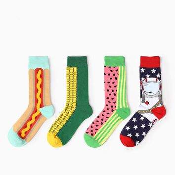 2017 New Arrival Men Cotton Socks Fashion British style Happy Socks For Young Men High Quality Cotton Sox Meias 4 Colors