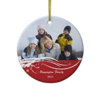 Snowflake swirl Christmas holiday photo ornament from Zazzle.com