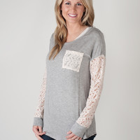 Lace Sleeve and Pocket Tops - 3 Colors