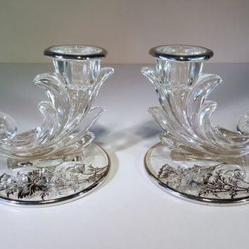 Vintage Crystal Candle Holders, Fostoria in the Baroque Pattern with Flanders Poppy Silver Overlay, Set of 2
