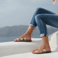 Gold Lace up Greek Sandals, handmade of genuine leather, Unique design, NEW SS15 DANAE 06