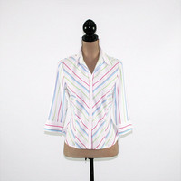 White Stripe Shirt Women Blouse Petite Button Up Top 3/4 Sleeve Fitted Blouse Small Medium Vintage Clothing Womens Clothing