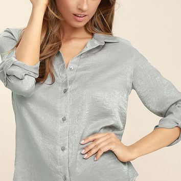 Boss Lady Grey Satin Button-Up Top