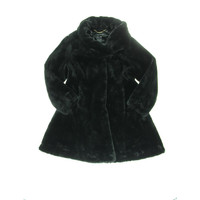 Jones New York Womens Faux Fur Hook Front Coat