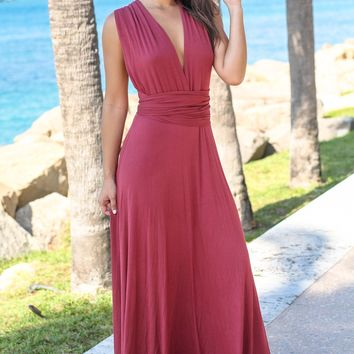 Maroon Tie Maxi Dress with Open Back