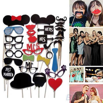 31Pcs Fun DIY Masks Booth Props Mustache Stick Set Wedding Birthday Party Photo = 1932525572