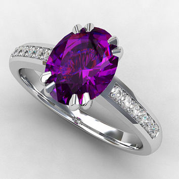 Amethyst engagement ring, diamond, oval amethyst, white gold ring, wedding ring, solitaire, purple, engagement, vintage style