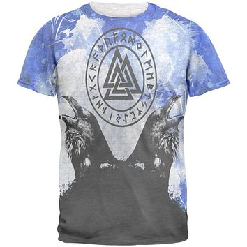 Huginn and Muninn Odin's Ravens Blue Splatter Mens T Shirt