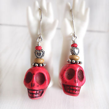 Red skull earrings, sterling silver, sugar skull, day of the dead, candy skull jewelry, frida jewelry, bright red