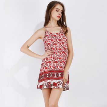 Fashion Retro Elephant Floral Print Loose Sleeveless Strap Mini Dress