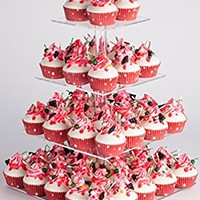 YestBuy 4 Tier Maypole Square Wedding Party Tree Tower Acrylic Cupcake Display Stand (15.1 Inches)