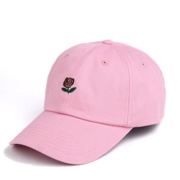 Summer Unisex The Hundreds Rose Embroidery Outdoor Baseball Cap- Pink