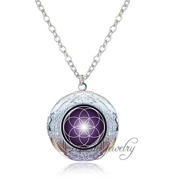Long Chain Flower of Life Pendant Mandala Flower Locket Necklace Women Spiritual Metaphysical Sacred Geometry Yoga Pendant