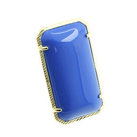 Blue Etched Rectangular Ring