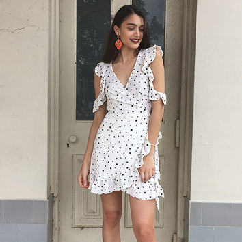 2017 Vintage Style Women Casual V-Neck Poke-a-dot Print Summer Beach Dress [9169909837]
