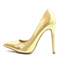 Shoe Republic Gold Savage Pointy Toe High Heels Stiletto Pumps wowtrendz