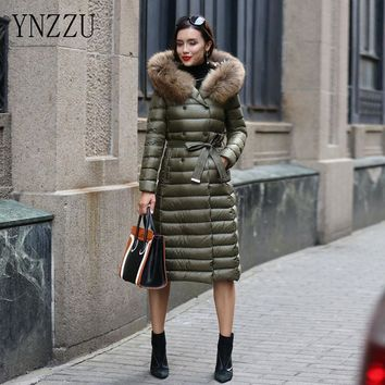 YNZZU 2016 New Women Winter Down Coat Thick X-Long Warm Large Raccoon Fur Collar Hooded Slim Jackets Plus Size 6XL YO108