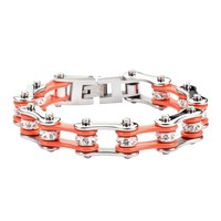 Orange and Silver Stainless Steel Chain Bracelet with Rolling Crystals