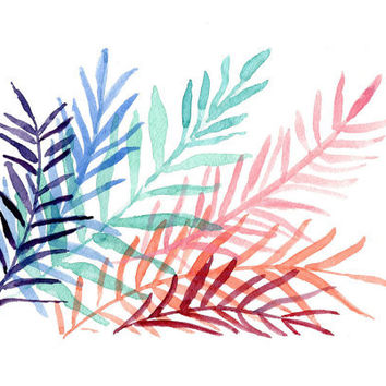 Colorful Ferns  art  Print of original, Abstract, watercolor painting of ferns leaves, turquoise, modern, purple, blue, pink