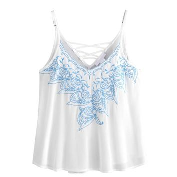 Summer Tops Women Fashion Embroidered Chiffon Shirt Ladies Sexy Sleeveless Strappy Vest Shirts Casual Tank Crop Top Girls #YL