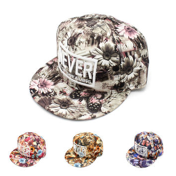 Korean Alphabet Floral Baseball Cap Adjustable Hip-hop Hats [4917731460]