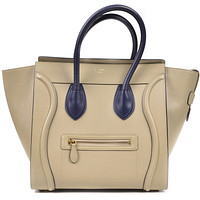 CelineLuggage Tote Bag Large Rare Tan Navy Leather